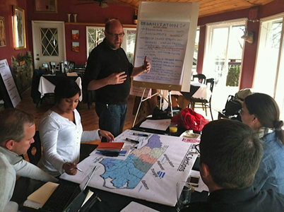 Discussing the state's AIA organization at the AIA NC Board retreat, 2013.