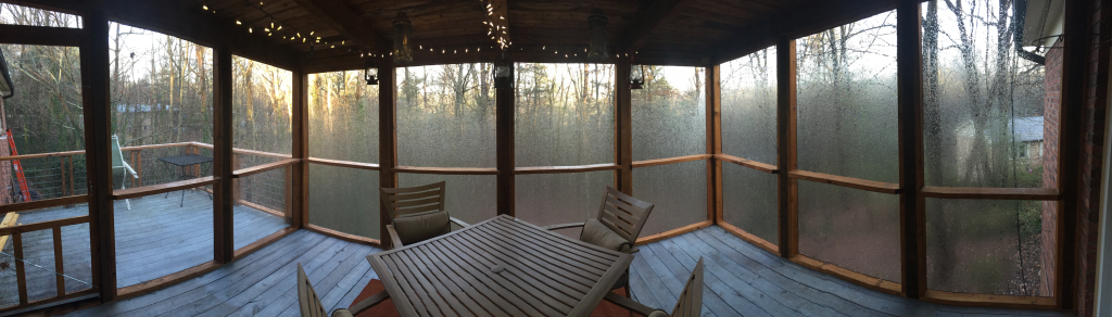 A cold and rainy pano shot of the porch.