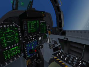 Virtual Cockpit View in an F-18. Microsoft Flight Simulator 2004