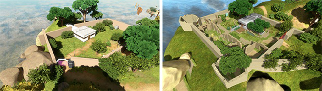 The Compound in the game The Witness before and after architects and landscape architects worked on the model.